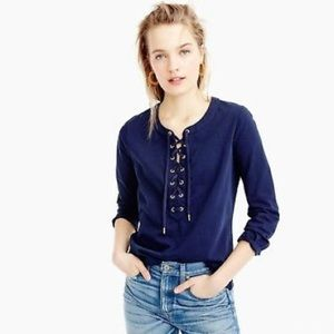 J Crew Retail Lace Up Top